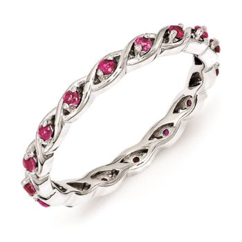 Picture of Silver Stackable Ring Round Created Ruby Stones