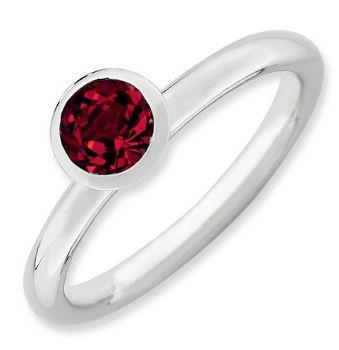 Picture of Silver Ring Round Swarovski Ruby Stone