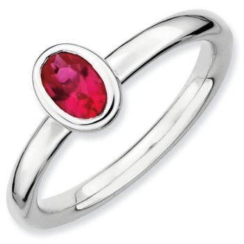 Picture of Silver Ring 1 Oval Created Ruby Stone