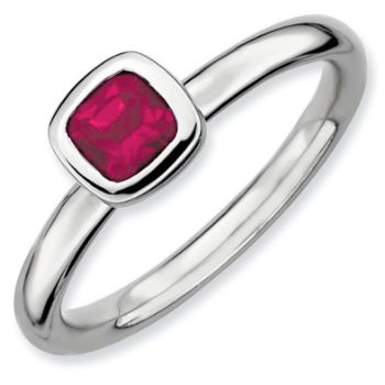 Picture of Silver Ring 1 Cushion-Cut Created Ruby Stone