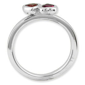 Picture of Silver Ring 2 Heart Created Ruby Stones