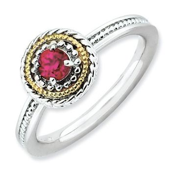 Picture of Silver Ring Round Created Ruby Stone