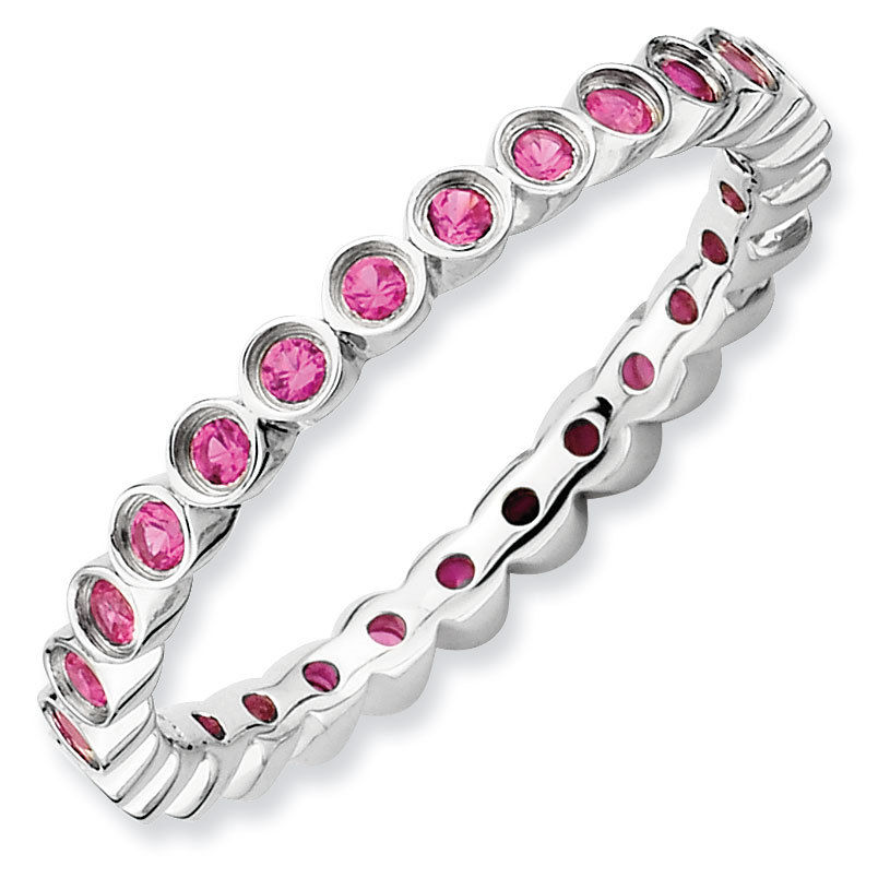 Picture of Silver Ring Band Round Created Ruby Stones