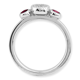 Picture of Silver Ring 2 Round Created Ruby & Diamond Stones