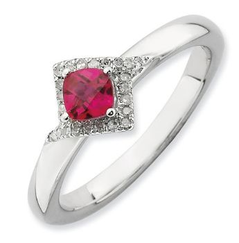 Picture of Silver Ring Cushion-Cut Created Ruby Stone