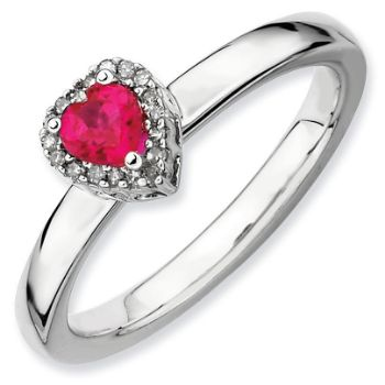 Picture of Silver Ring Heart Created Ruby & Diamond Stones