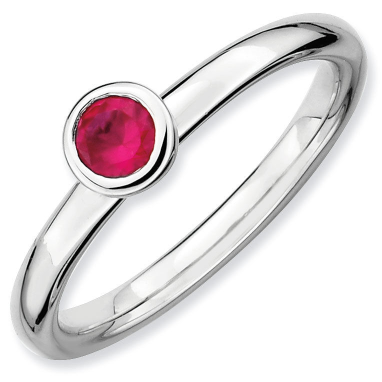 Picture of Silver Ring Round 4 mm Low Set Created Ruby Stone