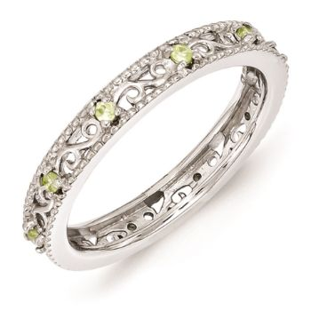 Picture of Silver Ring Round Peridot Stones