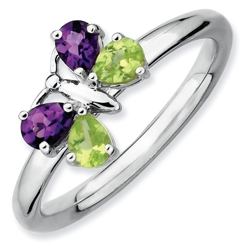 Picture of Silver Butterfly Ring, Peridot & Amethyst Stones