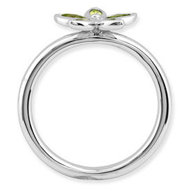 Picture of Silver Flower Ring Marquise Peridot Stones