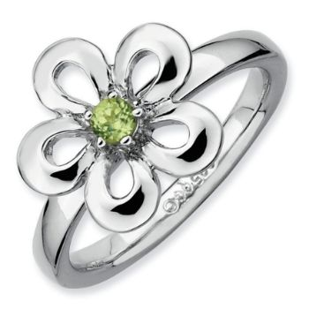 Picture of Silver Flower Ring Round Peridot Stone