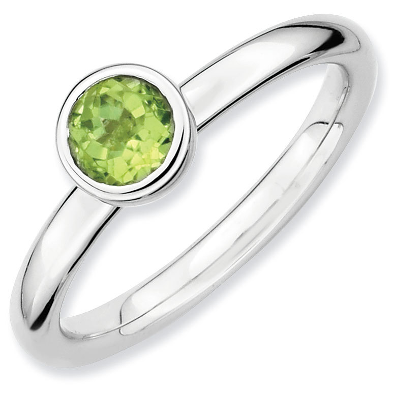Picture of Silver Ring Low Set 5 mm Round Peridot Stone