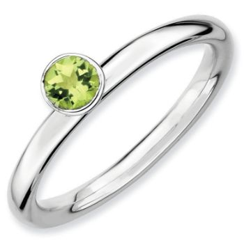 Picture of Silver Ring High Set 4 mm Round Peridot Stone