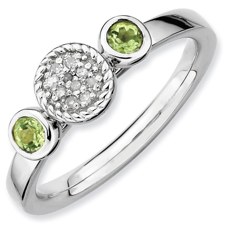 Picture of Silver Ring 2 Round Peridot & Diamond Stones