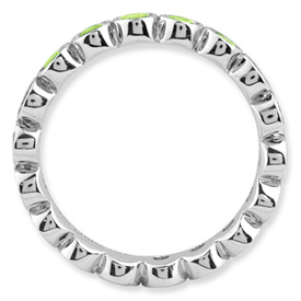 Picture of Silver Stackable Ring Round Peridot Stones