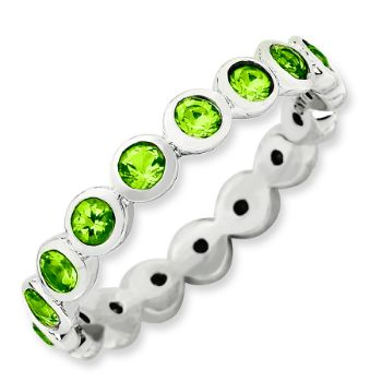 Picture of Silver Stackable Ring Round Swarovski Peridot Stone