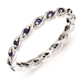 Picture of Silver Stackable Ring Created Sapphire Stones