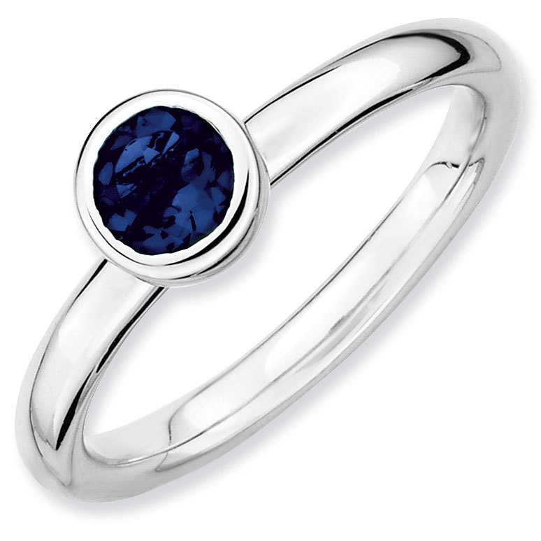 Picture of Silver Ring 5 mm Low Set Round Created Sapphire Stone