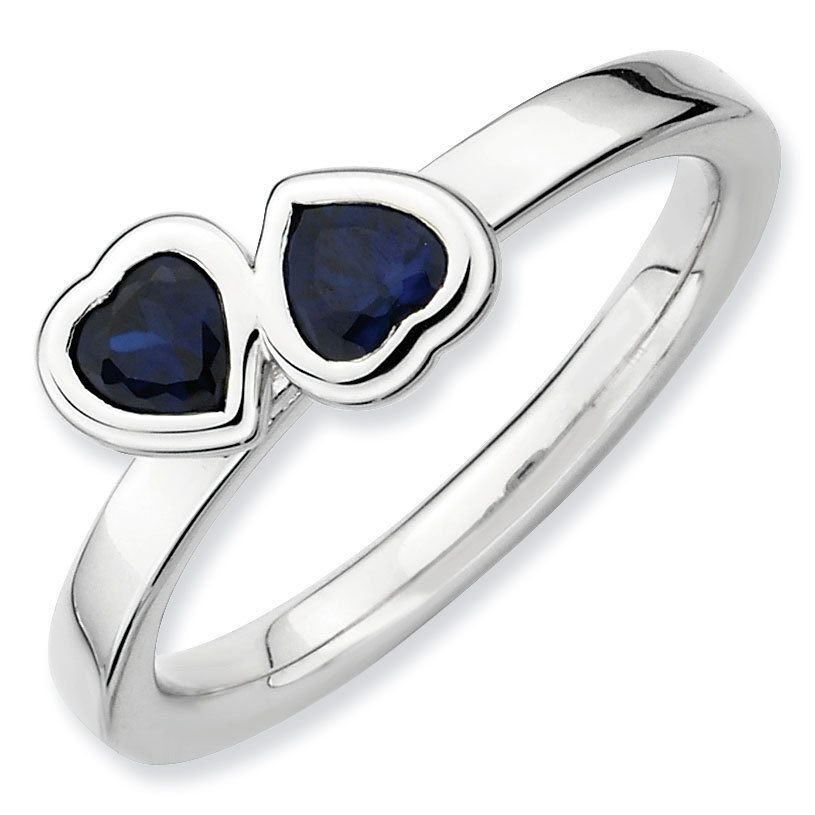 Picture of Silver Ring 2 Heart Created Sapphire Stones