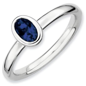 Picture of Silver Ring 1 Oval Created Sapphire Stone
