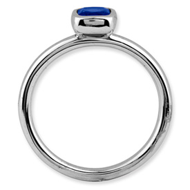 Picture of Silver Ring 1 Cushion-Cut Created Sapphire Stone