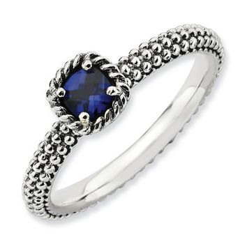 Picture of Silver Ring Checker-Cut Created Sapphire Stone