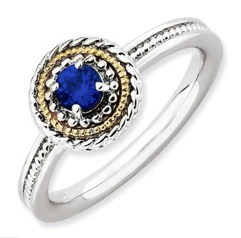 Picture of Silver Stackable Ring Round Created Sapphire Stone
