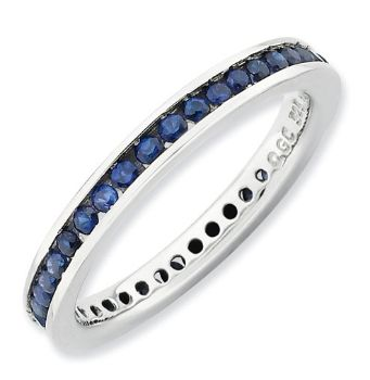 Picture of Silver Stackable Ring Round Created Sapphire Stones