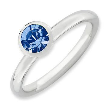 Picture of Silver Ring Round Swarovski Sapphire Stone