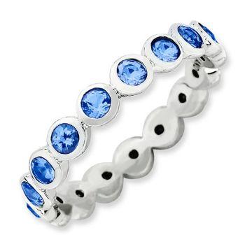Picture of Silver Ring Round Swarovski Sapphire Stones