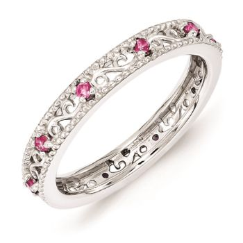 Picture of Silver Ring Created Pink Sapphire