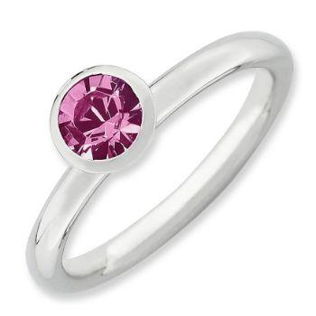 Picture of Silver Ring 5 mm Round Pink Swarovski Birthstone