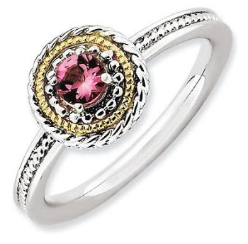 Picture of Silver Ring 1 Round shaped Pink Tourmaline stone