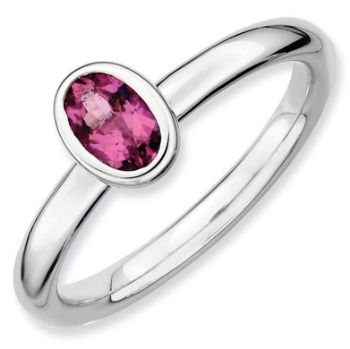 Picture of Silver Ring 1 Large Oval shaped Pink Tourmaline stone