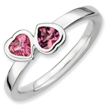 Picture of Silver Ring 2 Heart Pink Tourmaline stones