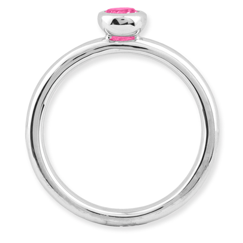 Picture of Silver Ring Low set 4 mm Round Pink Tourmaline