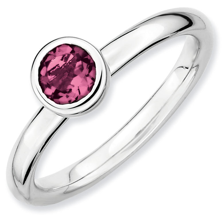 Picture of Silver Ring Low set 5 mm Round Pink Tourmaline