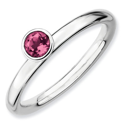 Picture of Silver Ring high set 4 mm Round Pink Tourmaline