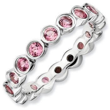 Picture of Silver Ring Pink Tourmaline Gemstones