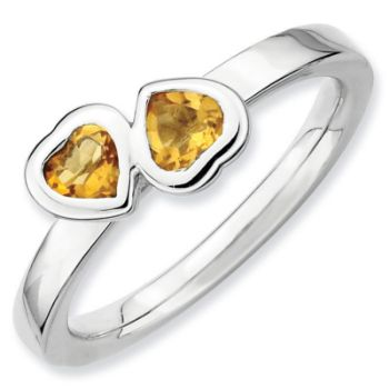 Picture of Sterling Silver Ring Citrine Double Heart
