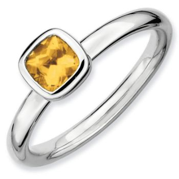 Picture of Sterling Silver Ring 1 Cushion Cut Citrine Stone