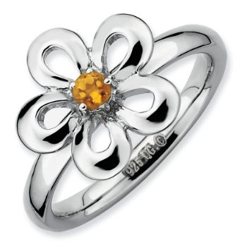 Picture of Sterling Silver Flower Ring Citrine Stone