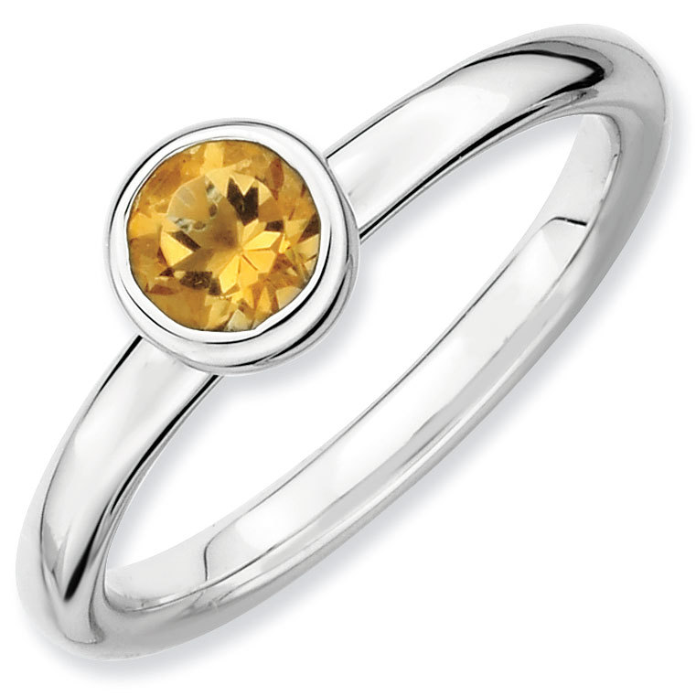 Picture of Sterling Silver Ring Low 5mm Round Citrine Stone