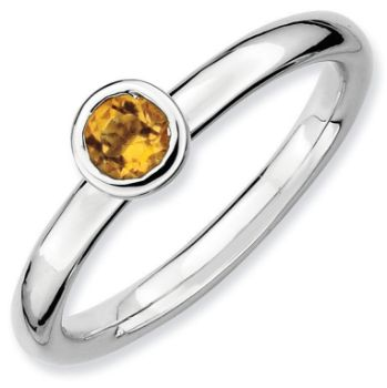 Picture of Sterling Silver Ring Low set 4 mm Round Citrine Stone