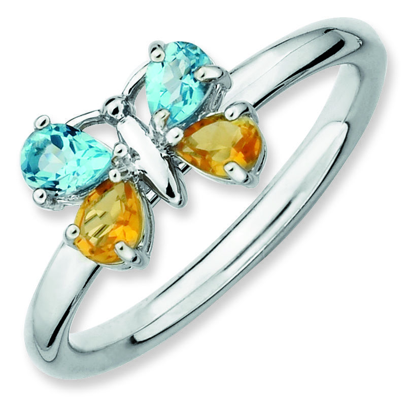 Picture of Silver Butterfly Ring Citrine & Blue Topaz Stones