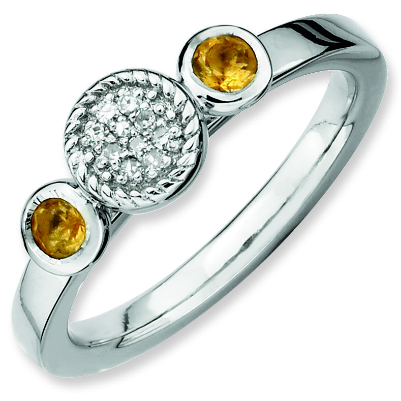 Picture of Sterling Silver Ring Citrine Stones