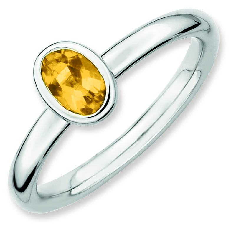 Picture of Sterling Silver Ring 1 Oval Citrine Stone