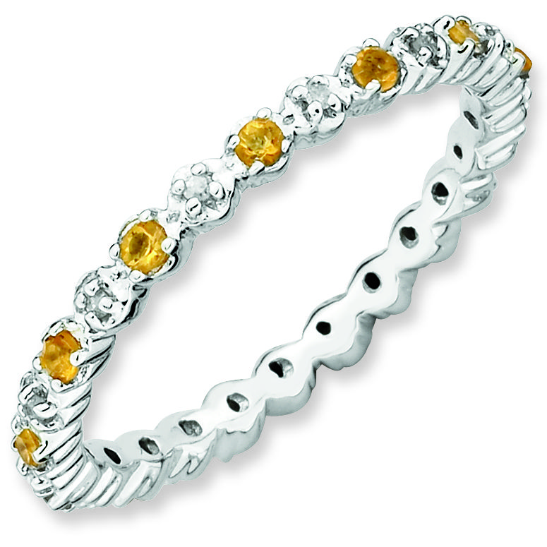 Picture of Sterling Silver Ring Citrine & Diamond Stones