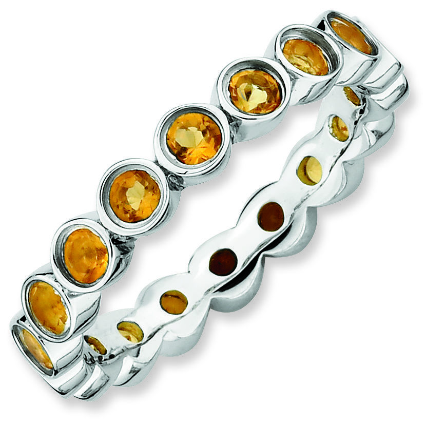 Picture of Sterling Silver Ring  Band Citrine Stones