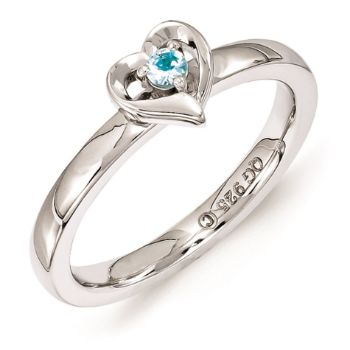Picture of Silver Heart Ring Blue Topaz Birthstone